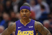 Isaiah Thomas #7 of the Los Angeles Lakers reacts as the Lakers play the Dallas Mavericks in the second half at American Airlines Center on February 10, 2018 in Dallas, Texas. The Mavericks won 130-123.