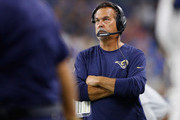 Head coach Jeff Fisher of the Los Angeles Rams watches his team against the Detroit Lions at Ford Field on October 16, 2016 in Detroit, Michigan.