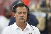 Los Angeles Rams head coach Jeff Fisher walks the sideline in the second half of their NFL football game against the Tampa Bay Buccaneers at Raymond James Stadium on September 25, 2016 in Tampa, Florida.