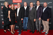 "(L-R) Stacey Offman, Nancy Daniels, Alex Gibney, David Zaslav, Steven Spielberg, Darryl Frank and Justin Falvey attend the Los Angeles special screening of ""Why We Hate"" at Museum Of Tolerance on October 07, 2019 in Los Angeles, California."