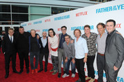 "(L-R) Jared Sandler, Chris Titone, Ian Bricke, Brandon Cournoyer, Bill Kottkamp, Joey Bragg, Allen Covert, David Spade, Matt Shively, Nat Faxon and Tyler Spindel arrive at ""Father Of The Year"" LA Special Screening at ArcLight Hollywood on July 19, 2018 in Hollywood, California."