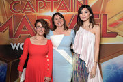 "(L-R) Director/Writer Anna Boden, Executive Producer Victoria Alonso, and Actor Gemma Chan attend the Los Angeles World Premiere of Marvel Studios' ""Captain Marvel"" at Dolby Theatre on March 4, 2019 in Hollywood, California."