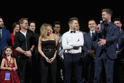 "(L-R) Robert Downey Jr., Scarlett Johansson, Jeremy Renner, and Chris Hemsworth speak onstage during the Los Angeles World Premiere of Marvel Studios' ""Avengers: Endgame"" at the Los Angeles Convention Center on April 23, 2019 in Los Angeles, California."