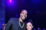 """(L-R) Dwight Howard and Tessa Thompson attend the Los Angeles World Premiere of Marvel Studios' """"Avengers: Endgame"""" at the Los Angeles Convention Center on April 23, 2019 in Los Angeles, California."""