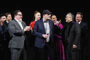 """(L-R) Executive producer Jon Favreau, President of Marvel Studios/Producer Kevin Feige, and Director Joe Russo attend the Los Angeles World Premiere of Marvel Studios' """"Avengers: Endgame"""" at the Los Angeles Convention Center on April 23, 2019 in Los Angeles, California."""