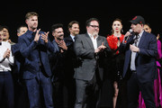 """(L-R) Chris Hemsworth, Executive producer Jon Favreau, and President of Marvel Studios/Producer Kevin Feige speak onstage the Los Angeles World Premiere of Marvel Studios' """"Avengers: Endgame"""" at the Los Angeles Convention Center on April 23, 2019 in Los Angeles, California."""