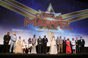 "(L-R) Actors Algenis Perez Soto, Rune Temte, Mckenna Grace, London Fuller, Akira Akbar, Lashana Lynch, Clark Gregg, Samuel L. Jackson, Brie Larson, Gemma Chan, Ben Mendelsohn, and Lee Pace, Directors/Writers Ryan Fleck and Anna Boden, Executive Producer Jonathan Schwartz, Executive Producers Victoria Alonso and Louis D'Esposito, and President of Marvel Studios/Producer Kevin Feige attend the Los Angeles World Premiere of Marvel Studios' ""Captain Marvel"" at Dolby Theatre on March 4, 2019 in Hollywood, California."
