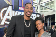 """(L-R) Dwight Howard and Letitia Wright attend the Los Angeles World Premiere of Marvel Studios' """"Avengers: Endgame"""" at the Los Angeles Convention Center on April 23, 2019 in Los Angeles, California."""