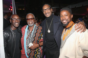 (L-R) Actors Don Cheadle and John Kani, rapper Snoop Dogg, and actor Atandwa Kani at the Los Angeles World Premiere of Marvel Studios' BLACK PANTHER at Dolby Theatre on January 29, 2018 in Hollywood, California.