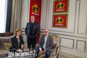 Director Brad Bird and producers Nicole Grindle and John Walker attend 'Los Increibles 2' photocall at Westin Palace Hotel on June 12, 2018 in Madrid, Spain.