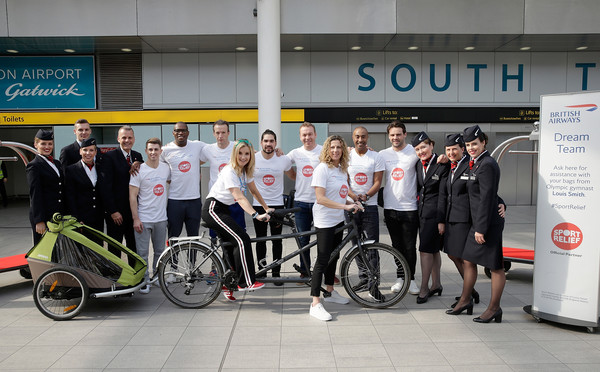 The British Airways Dream Team At London Gatwick [photo,bicycle,vehicle,transport,recreation,team,bicycle fork,bicycle wheel,sports equipment,advertising,chris hoy,sporting stars,sports personalities,richard whitehead,max whitlock,l-r,london gatwick,british airways dream team,british airways]