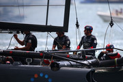 Land Rover BAR skippered by Sir Ben Ainslie in action during day one of the Louis Vuitton America's Cup World Series on July 22, 2016 in Portsmouth, England.