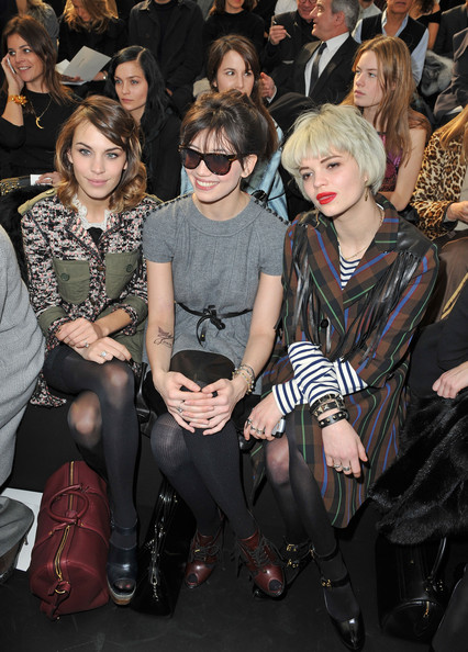 Alexa Chung, Daisy Lowe and Pixie Geldof attend the Louis Vuitton Ready to Wear show as part of the Paris Womenswear Fashion Week Fall/Winter 2011 at Cour Carree du Louvre on March 10, 2010 in Paris, France.