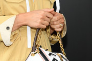 Alicia Vikander, bag detail, attends the Louis Vuitton Womenswear Spring/Summer 2021 show as part of Paris Fashion Week on October 06, 2020 in Paris, France.