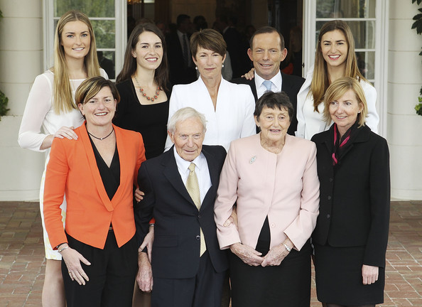 Tony Abbott's Government Sworn in at Government House [social group,event,team,suit,formal wear,white-collar worker,family pictures,family,tuxedo,tony abbott,prime minister,family,ministers,secretaries,process,action,government house,australia,government]