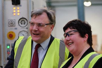 Louise Baldock Ed Balls Visits the Cotswold Manufacturing Factory