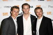 "(L-R) Actors Kenny Wormald, Jake Abel and Brett Davern attend the ""Love & Mercy"" premiere during the 2014 Toronto International Film Festival at The Elgin on September 7, 2014 in Toronto, Canada."