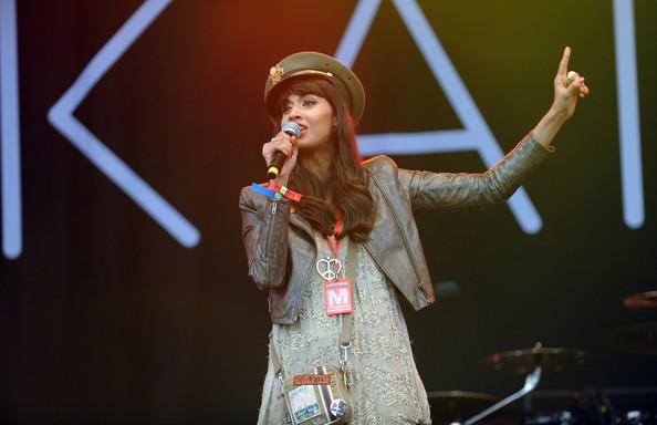 Jameela Jamil introduces Katy B on day 2 of Lovebox on July 16, 2011 in Victoria Park in London, England.