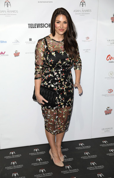 The Asian Awards - Red Carpet Arrivals [clothing,dress,fashion model,cocktail dress,fashion,shoulder,hairstyle,fashion design,joint,footwear,red carpet arrivals,lucy pinder,asian awards,hilton park lane,london,england]