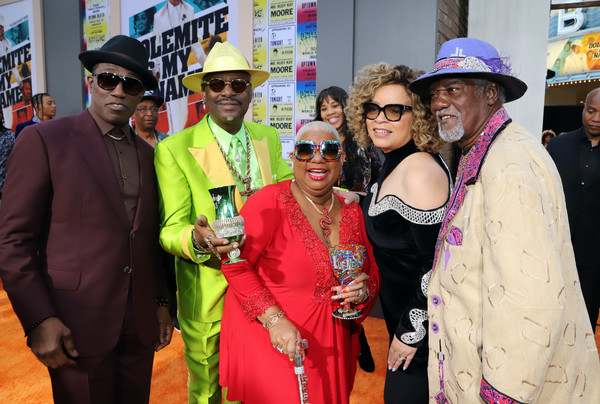 Netflix Presents 'Dolemite Is My Name' Los Angeles Premiere [netflix presents ``dolemite is my name,event,ceremony,magenta,fashion accessory,wesley snipes,don ``magic juan,ruth e. carter,luenell,jimmy lynch,l-r,los angeles,netflix,premiere]