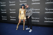 Sita Abellan and J Balvin attend the LuisaViaRoma and Carine Roitfeld Event during Pitti Immagine Uomo 96 on June 13, 2019 in Florence, Italy.