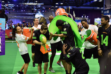 Luke Kuechly Nickelodeon at the Super Bowl Experience - Superstar Slime Showdown Taping