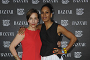 Petra Pfaller and Barbara Becker attend Burda Style Group Preview - Harper's Bazaar pre launch party during the Mercedes-Benz Fashion Week Spring/Summer 2014 on July 4, 2013 in Berlin, Germany.