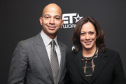 (L-R) BET President Scott Mills and Senator Kamala Harris attend META - Convened by BET Networks at The Edition Hotel on February 20, 2020 in Los Angeles, California.