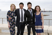 "(From L) US actress Mamie Gummer, British actors Richard Coyle and Tom Riley and French actress Alix Poisson pose during a photocall for the TV series ""The collection"" during the MIPTV event in Cannes on April 4, 2016. / AFP / VALERY HACHE"