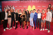 """Simon Will, Lisa Kueppers, Pablo Grant, Vivien Wulf, Meriel Hinsching, Sylvie Meis, Tobias Licht, Selina Mour, Lisa-Marie Koroll, Lion Wasczyk, Jonathan Elias Weiske, Jolina Marie Ledl, Mario Novembre attend the """"Misfit"""" world premiere on March 9, 2019 in Cologne, Germany."""