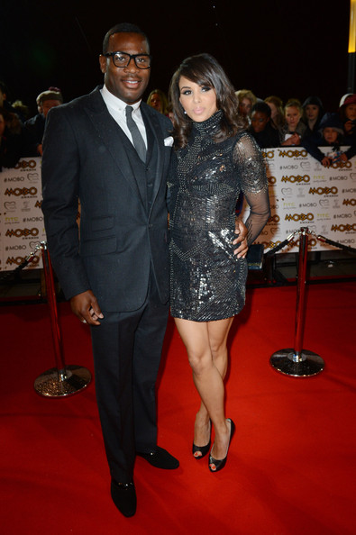 Louise Hazel (R) attends the 2012 MOBO awards at Echo Arena on November 3, 2012 in Liverpool, England.
