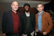 (L-R) Degen Pener, Aldis Hodge, and Toby Bateman attend MR PORTER Celebrates The Hollywood Reporter's Annual Watch Issue on November 8, 2018 in Los Angeles, California.