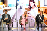 Michelle Hunziker (C) hosts the Media Briefing of the MSC Grandiosa launch with Gianni Onorato, CEO of MSC Cruises, and Pierfrancesco Vago, Executive Chairman of MSC Cruises at the MSC Grandiosa Naming Ceremony on November 09, 2019 in Hamburg, Germany.
