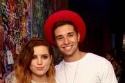 Musician Sydney Sierota of Echosmith (L) and Rapper Jake Miller pose backstage during MTV Artists to Watch at House of Blues Sunset Strip on February 5, 2015 in West Hollywood, California.
