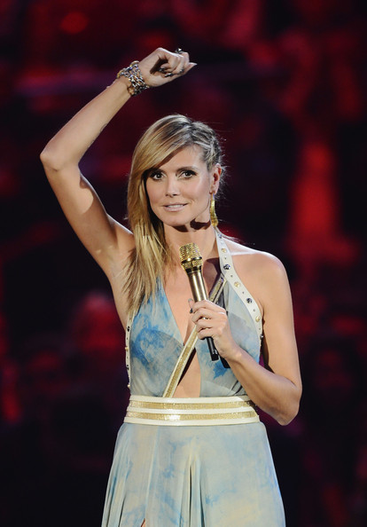 Presenter Heidi Klum onstage during the MTV EMA's 2012 at Festhalle Frankfurt on November 11, 2012 in Frankfurt am Main, Germany.