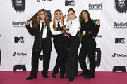 Jesy Nelson, Perrie Louise Edwards, Jade Thirlwall, Leigh-Anne Pinnock of Little Mix backstage during the MTV EMAs 2018 at Bilbao Exhibition Centre on November 4, 2018 in Bilbao, Spain.