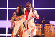 Becky G joins Akon to perform on stage during the MTV EMAs 2019 at FIBES Conference and Exhibition Centre on November 03, 2019 in Seville, Spain.