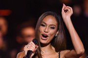 Joan Smalls presents the Best Rock Award on stage during the MTV EMAs 2019 at FIBES Conference and Exhibition Centre on November 03, 2019 in Seville, Spain.