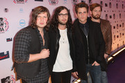 Musicians Matthew Followill, Nathan Followill, Jared Followill and Caleb Followill of Kings of Leon  attend the MTV Europe Awards 2010 at the La Caja Magica on November 7, 2010 in Madrid, Spain.
