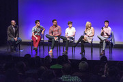 """Moderator and Director of Glaad Trans Media Program Nick Adams, actor Michael J. Willett, producer Carter Covington, actor Elliot Fletcher, actor Rita Volk and director Silas Howard answer questions on stage at MTV's """"Faking It"""" screening at the Los Angeles LGBT Centeron on May 02, 2016 in Hollywood, California."""