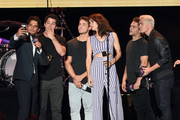 (L-R) Tyler Posey, Dylan O'Brien, Cody Christian, Shelley Hennig, Dylan Sprayberry, and Colton Haynes speak  onstage during MTV Fandom Fest at PETCO Park on July 21, 2017 in San Diego, California.