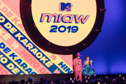 Hugo Gloss and Sabrina Sato stage during MTV MIAW 2019 at Credicard Hall on July 3 , 2019 in Sao Paulo, Brazil.