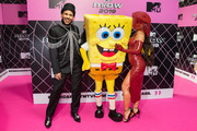 Hugo Gloss, Bob Esponja and Sabrina Sato attends the MTV MIAW 2019 at Credicard Hall on July 3, 2019 in Sao Paulo, Brazil.