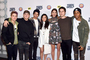 (L-R) Actors Dylan Sprayberry, Cody Christian, Tyler Posey, Arden Cho, Shelley Hennig, Dylan O'Brien and Khylin Rhambo attend the MTV Teen Wolf Los Angeles premiere party at Dave & Busters on December 20, 2015 in Hollywood, California.