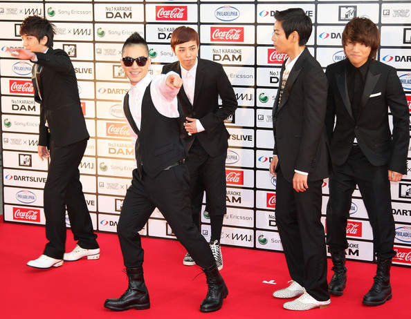 Big Bang BIGBANG walk on the red carpet during the MTV World Stage VMAJ 2010 at Yoyogi National Gymnasium on May 29, 2010 in Tokyo, Japan.