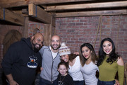 """James Monroe Iglehart, Jevon McFerrin, Lexi Lawson, Joanna A. Jones and Lauren Boyd of """"Hamilton"""" pose for photos with  Macey Hensley (C) backstage after the show at Richard Rogers Theatre on December 27, 2017 in New York City."""