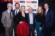 "(L-R)  John Slattery, Jon Hamm, January Jones, creator Matthew Weiner, Christina Hendricks, and AMC president Charles Collier attend the ""Mad Men"" special screening at The Film Society of Lincoln Center on March 21, 2015 in New York City."