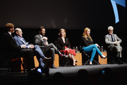 "(L-R)  Moderator Chuck Klosterman, creator Matthew Weiner, Jon Hamm, January Jones, Christina Hendricks, and John Slattery attend the ""Mad Men"" special screening at The Film Society of Lincoln Center on March 21, 2015 in New York City."