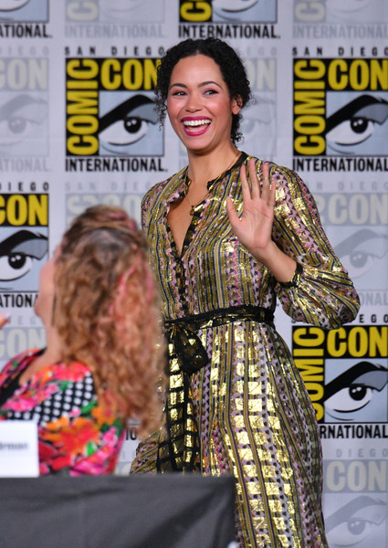 Comic-Con International 2018 - SYFY WIRE Hosts The Great Debate [fashion design,carpet,magazine,dress,event,publication,flooring,premiere,red carpet,style,madeleine mantock,comic-con international 2018 - syfy wire hosts the great debate,charmed exclusive screening and panel,san diego convention center,california]