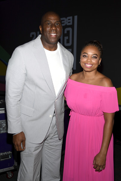 2019 BET Experience - Genius Talks Sponsored By Credit Karma - Day 2 [pink,fashion,event,formal wear,fashion design,magenta,the genius of magic johnson,jemele hill,experience,l-r,denny\u00e2,los angeles convention center,credit karma,bet,talks,genius talks]